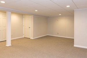 A complete finished basement system in a Birch Harbor home