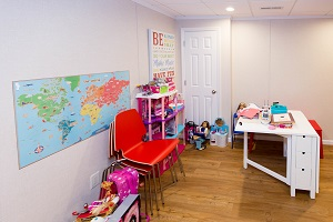 Children's playroom installed in a Brewer basement