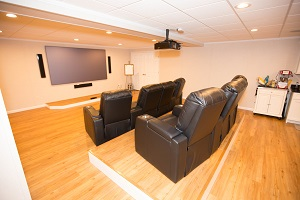 A basement turned into a home theater in Bangor